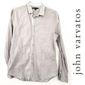John Varvatos Grey & White Striped Button Down